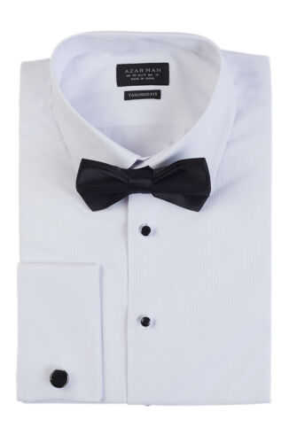 New Men/'s White Tuxedo Dress Shirt Slim Tailored Fit French Cuff Spread Collar