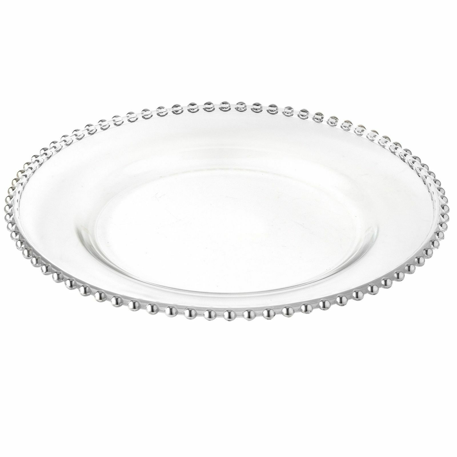 Heim Concept 13 Inch Silver Clear Beaded Chargers 1 Plate Only For Sale Online