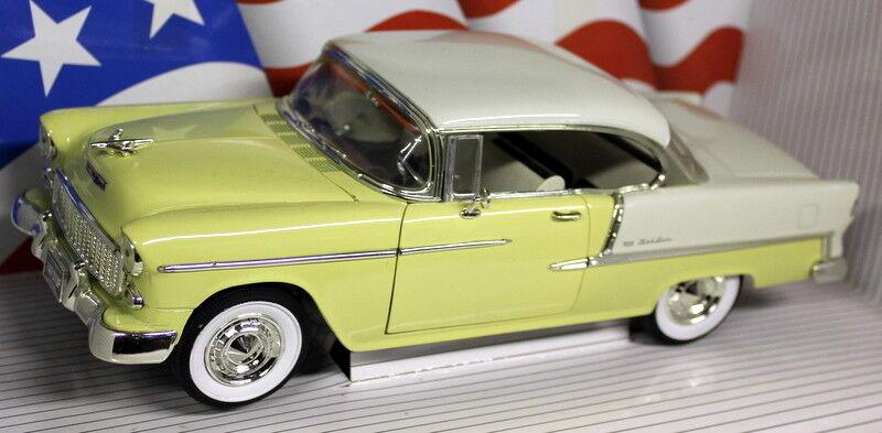 Ertl 1 18 Scale - 8110 1955 Chevrolet Bel Air Hardtop Yellow Diecast Model Car