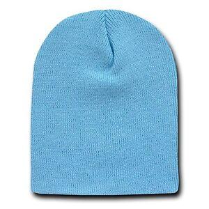 343874640b7 Light Blue 8 Inch Short Knit Beanie Winter Ski Cap Caps Hat Hats ...