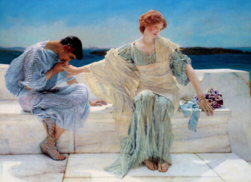 ASK ME NO MORE LOVE COUPLE PAINTING BY ALMA TADEMA REPRO