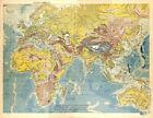 BIG SIZE PHYSICAL MAP CARTE ATLAS 1950 : AFRICA ASIA EUROPE AUSTRALIA OCEANIA