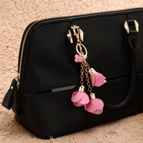 Leather Camellia Keyring Charm Pendant Purse Bag Key Ring Chain Keychain Pandant