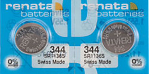 2 x Renata 344 Watch Batteries, 0% MERCURY equivalent SR1136S, Swiss Made