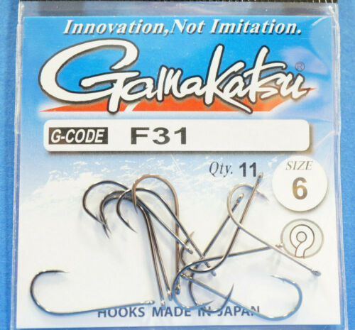 Gamakatsu F31 Größe #6 black nickel 11 Haken F31 Size #6 black nickel 11 hooks