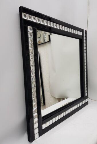 ELEGANT Carré Noir Miroir Mural Brillant Cristal Argent Border 60X60cm