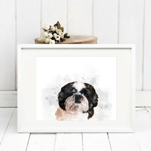 Fab Pet Picture Gift A4 Shih Tzu Dog Wall Art *UNFRAMED* Watercolour Print
