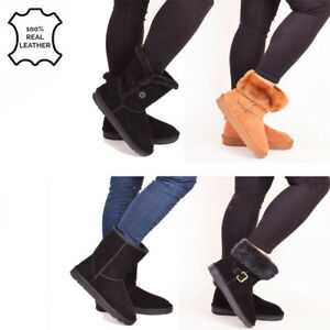 Ladies-Womens-Leather-Real-Sheepskin-Winter-Boots-Warm-Bailey-Button-Shoes-Size