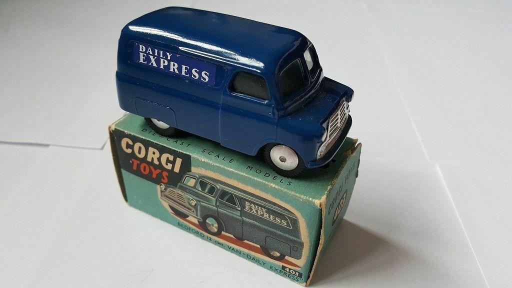 CORGI 403 1956-61 CA BEDFORD VAN IN THE ORIGINAL DARK Blau WITH ORIGINAL BOX.