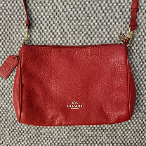 Coach Carrie Red Leather Crossbody Bag