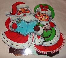 "Vtg SANTA CLAUS MRS CHRISTMAS Diecut 13"" Paper Decoration"