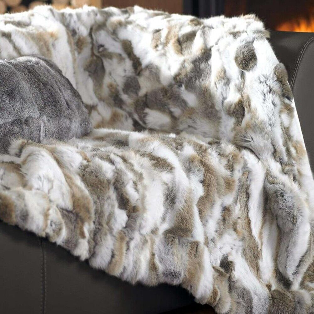 Natural 100% Real Rex Rabbit Fur Throw Bedspread   Blanket Carpet Luxury Comfort