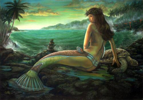 Hawaiian Mermaid sea turtle Vintage Fantasy Art Giclee 16 x 20 Hawaii Volcano