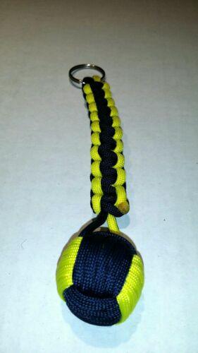 """Paracord Monkey Fist Keychain avec 1/"""" Acier Roulement Bleu Marine /& Jaune"""