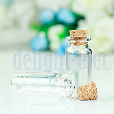 10Pcs Small Tiny 22x50mm Glass Bottle Vials Pendants Clear Bottles With Cork  DE