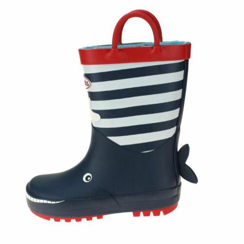 Chipmunks Moby Boys Navy Wellington Boot kids children Slip-on