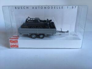 Busch-59959-Transport-Anhanger-mit-Kettenkrad-H0-Modell-1-87