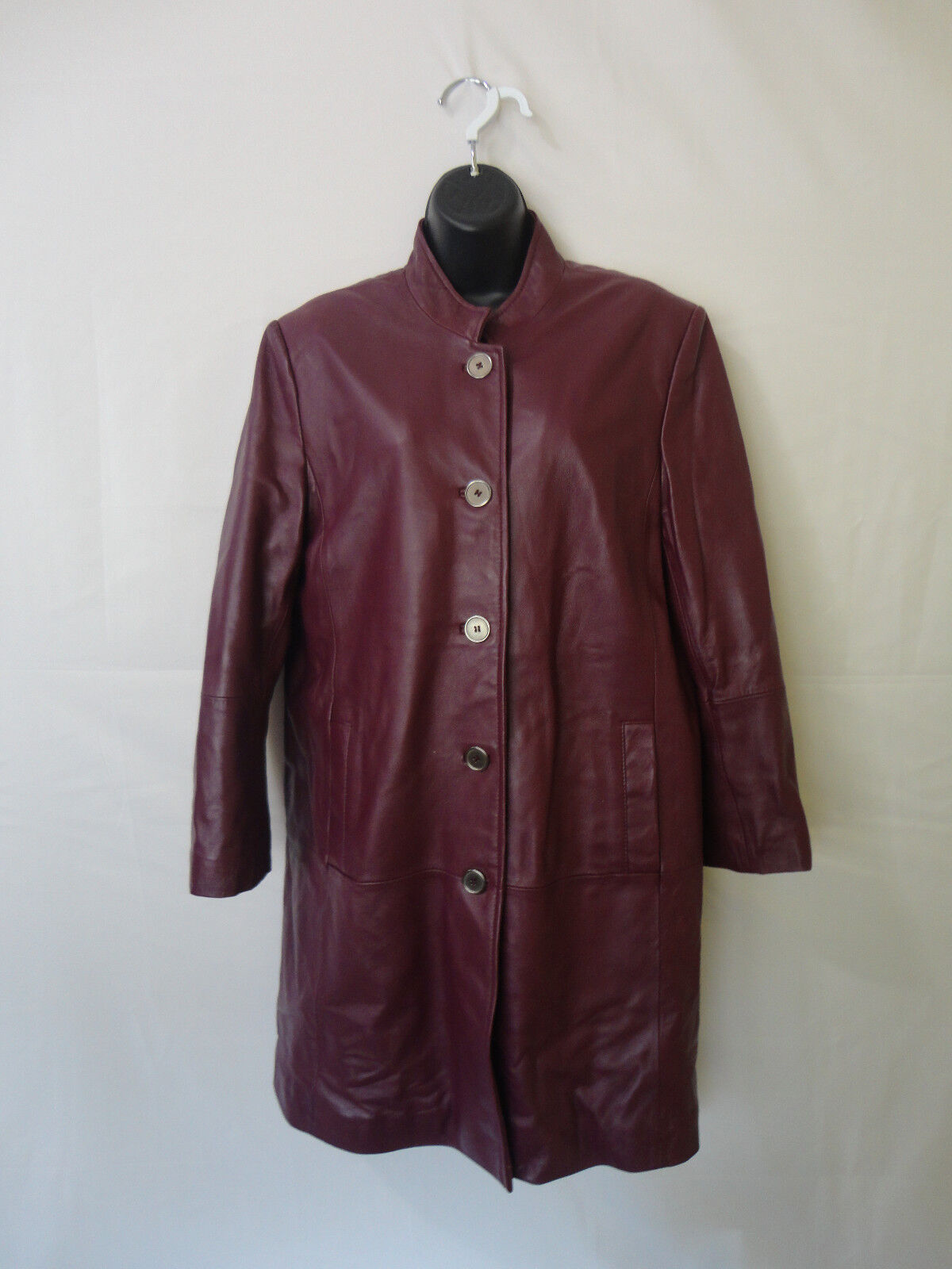 Excelled Women's Vinous Leather Buttons Up Collar Coat Size M