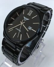 Mens Watch Metal Strap Smart Thin Slim Classic Luxury Black Date New Uk Designer