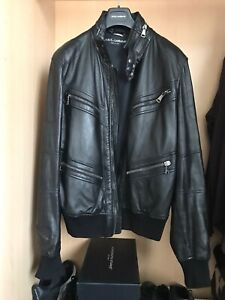 Dolce Gabbana Giacca di Pelle Hoodie Hooded cappuccio d&g LEATHER JACKET NERO 52.