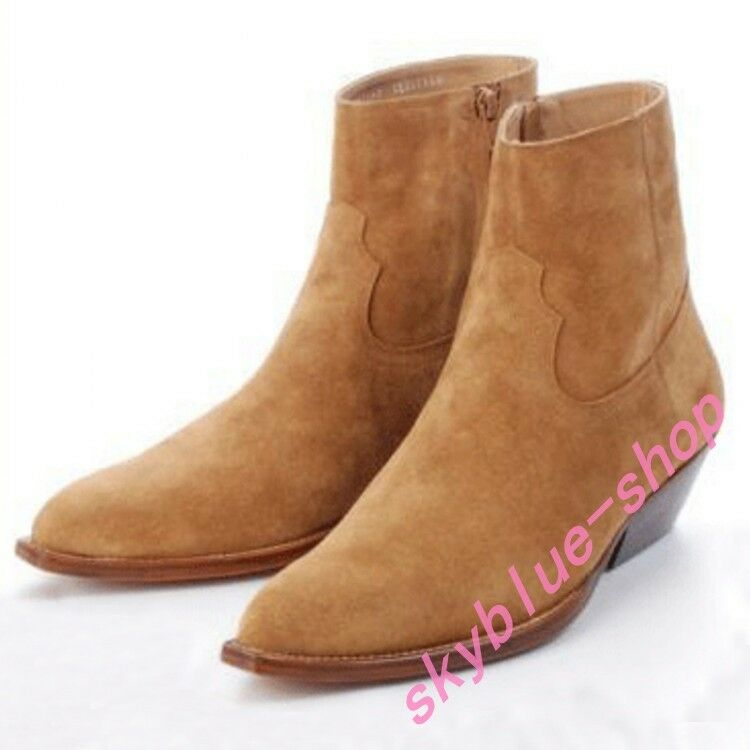 Retro Mens Western Cowboy Pointy Toe High Top Ankle Boot Suede Leather Mid Heel