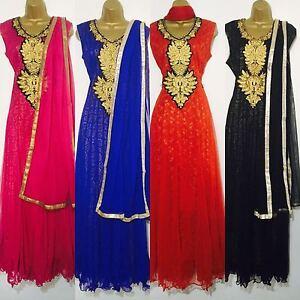 Indian-Pakistani-Long-Pink-Blue-Red-Black-Anarkali-Salwar-Kameez-Ladies-Women
