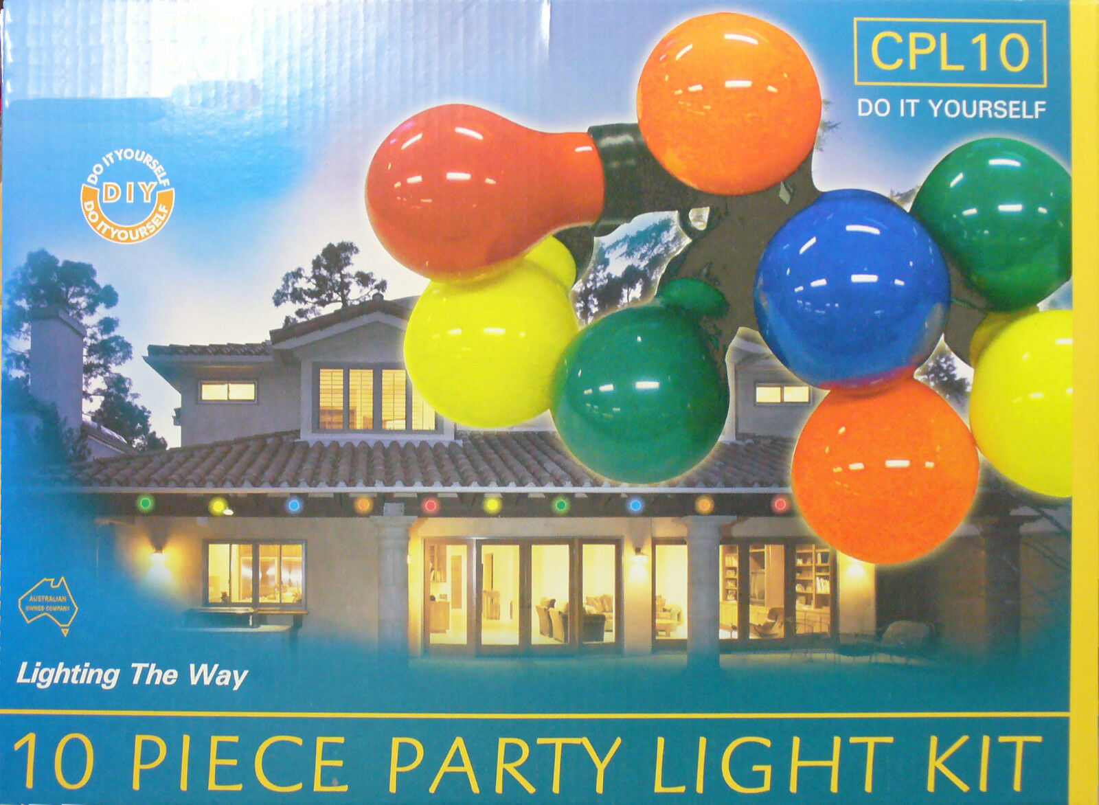 10 Piece Colourot Festoon Party Light Kit - Range of Globes Colours Available.