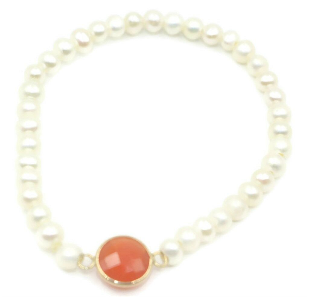 Freshwater White Pearl & Coral Elastic Bracelet,14k Yellow gold 51 2 Inches