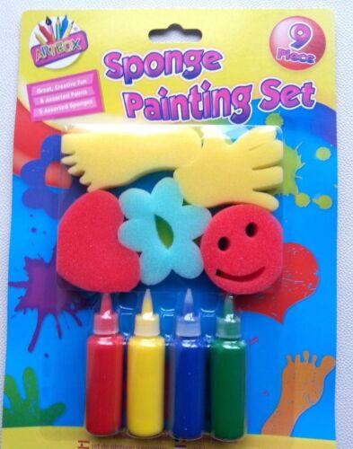 Conjunto De Pintura Para Niños Niños Esponjas /& Art Craft diversión Corazón Estrella De Mano Pie Y Flor