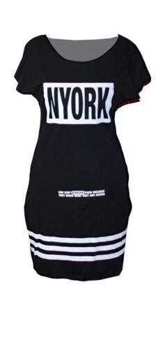 New York Blogger College Shirtkleid Tunika Minikleid mit Taschen NEU Gr.36 38