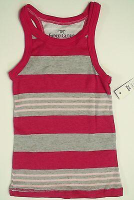 Girls Faded Glory Tank Top Rib Knit Yellow And Gray Striped Size XS 4-5