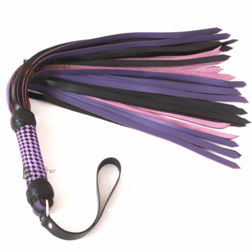 Real Genuine Cow Hide Leather Flogger Whip 50 Falls Purple /& Black Heavy Duty