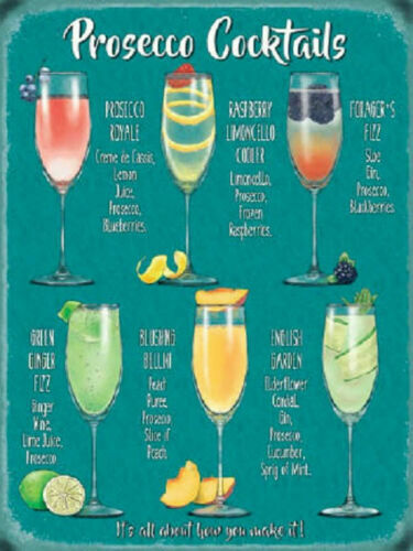 VINTAGE STYLE METAL WALL SIGN PLAQUE PROSECCO COCKTAIL PICTURE RETRO DECOR
