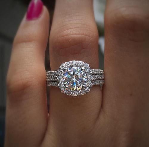 Certified 2.00ct Near White Moissanite Delicated Engagement Ring 14k White gold