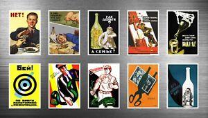 10 Soviet Russian Anti-alcohol Propaganda Posters Art Fridge Magnets SAY NO!