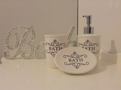 3 Piece Bathroom Accessory Set SoapTumblerDispenser French Vintage ShabbyChic