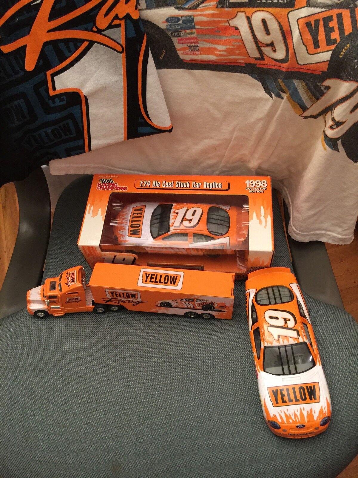 Stock car diecast Racing réplicas giallo, 18 y 2 Wheeler, camisetas para hombre