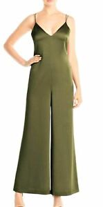 WHISTLES Ladies Khaki Green Relaxed Satin Strappy Jumpsuit UK10 RRP199 BNWT