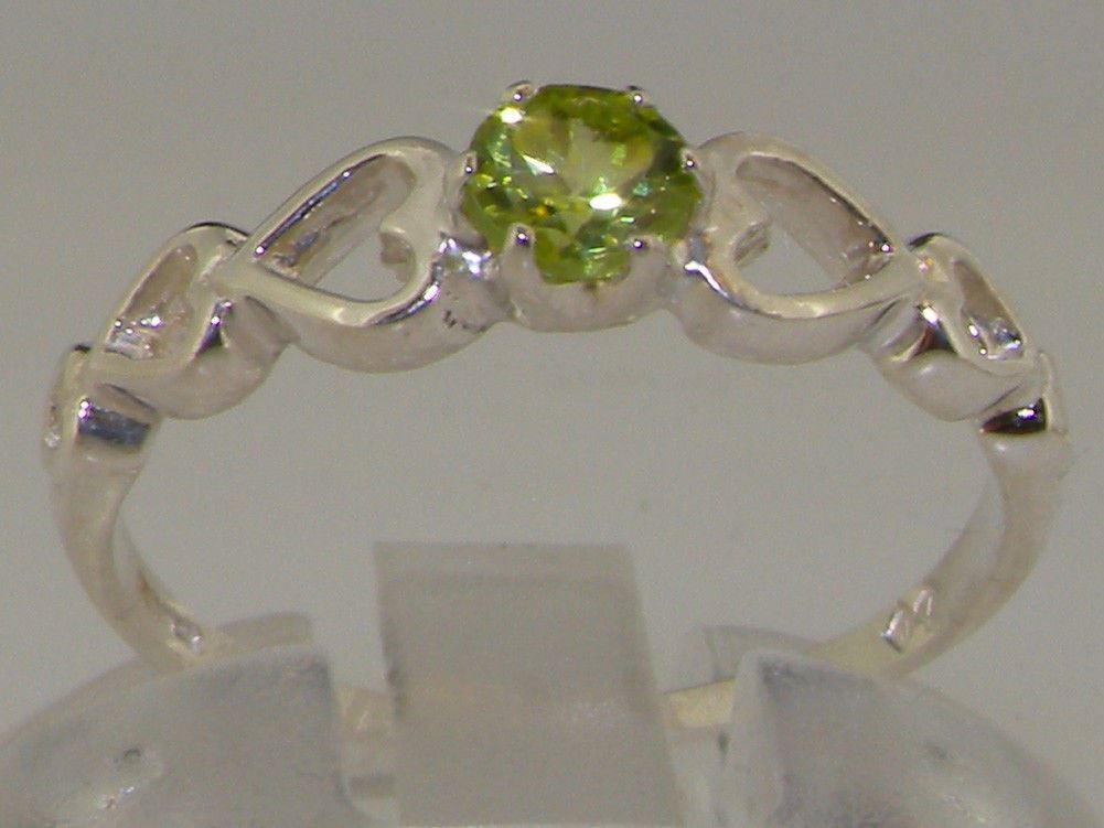9ct White gold Natural Peridot Womens Solitaire Ring - Sizes J to Z