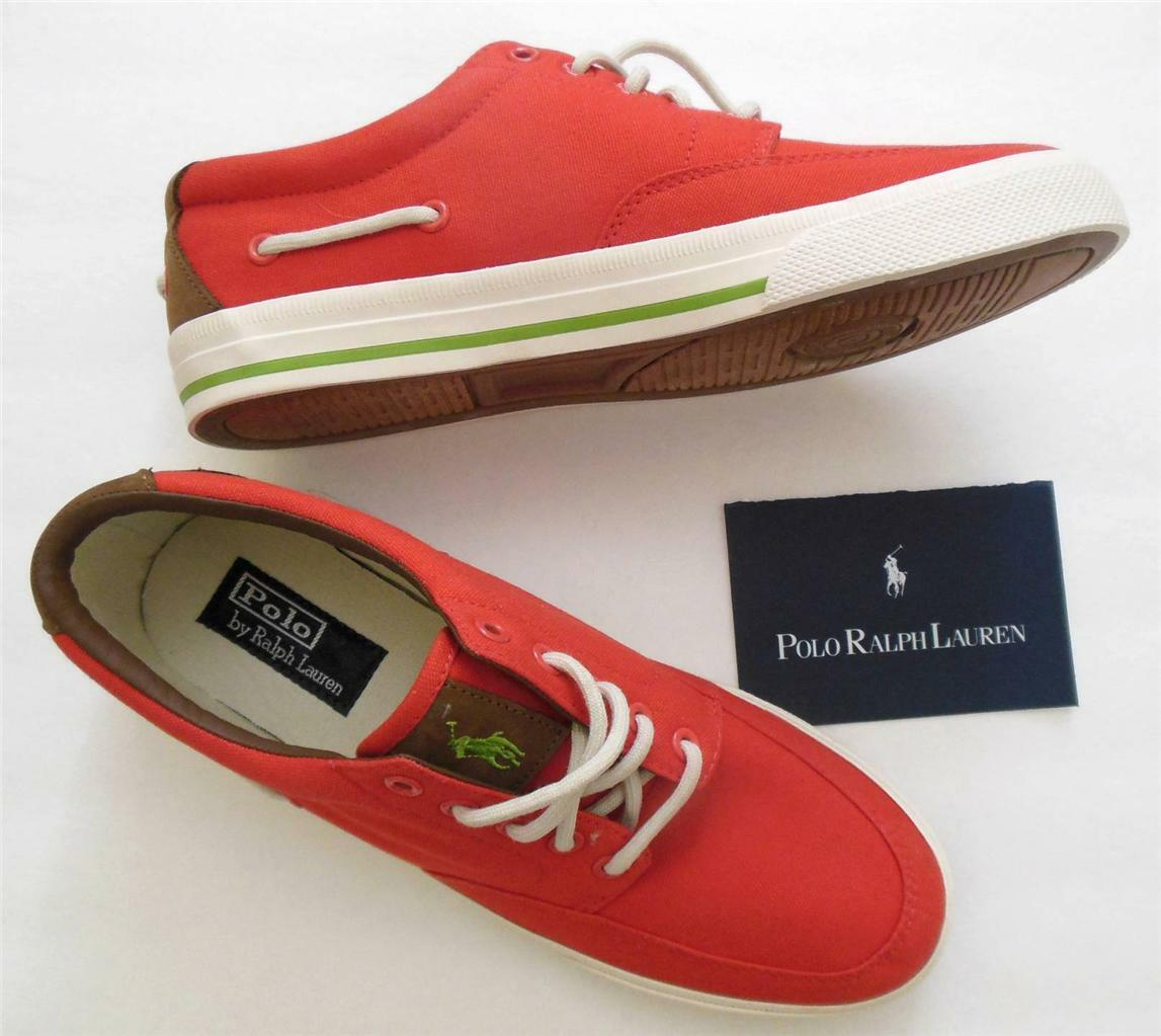 Polo Ralph Lauren MEN 9.5 NEW Turnschuhe schuhe rot Orange Canvas w Leather lace-up