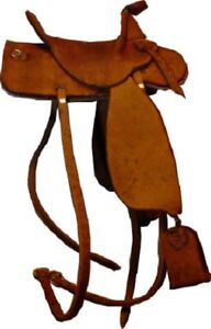 Dollhouse-Miniature-Brown-Leather-Saddle-by-Prestige-Leather-1-12