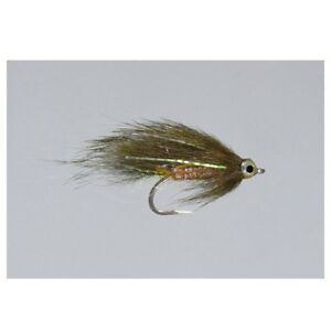 (2) Kure's Squirrel Micro Zonker Olive #8 Trout Fly by Rainy's SHIPS FREE