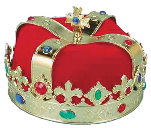 Golden Crown King Plastic With Multi Colored Jewels /& Red Under Turban