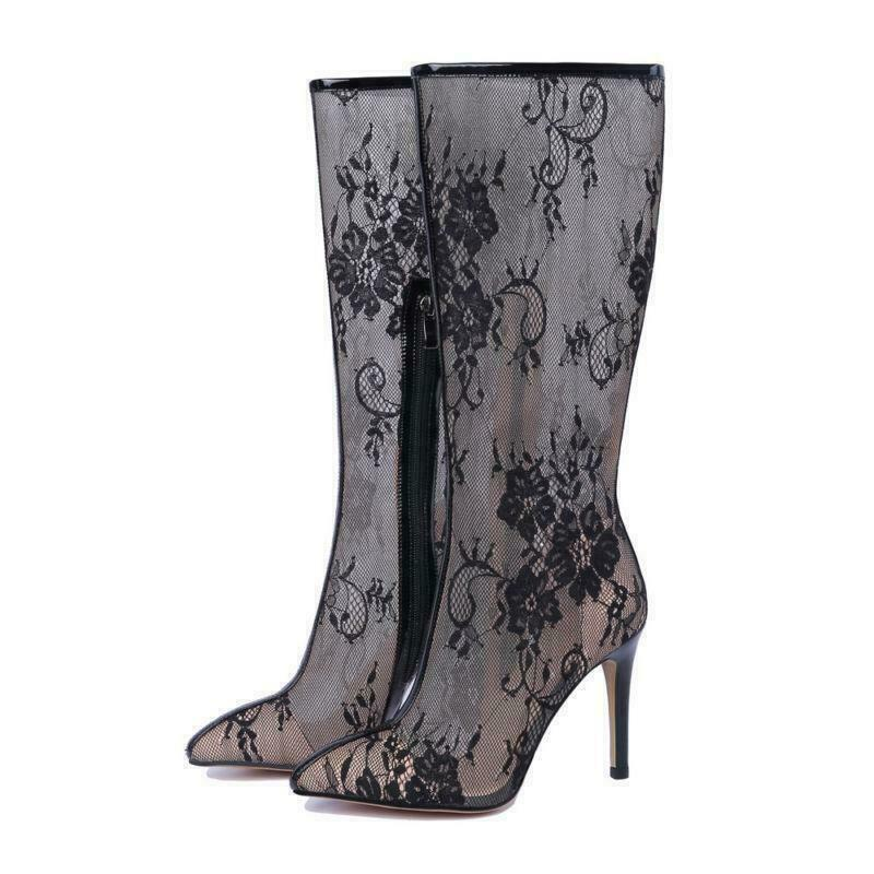 Celebrity Womens Sexy Lace Zip High Heels Pointed Toe Knee High Mesh Boots shoes