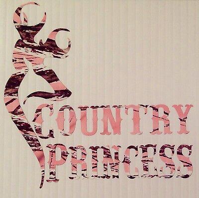 "Pink Camo Country Princess Car Truck Vinyl Decal 5"" Muddy Deer Browning Girl"