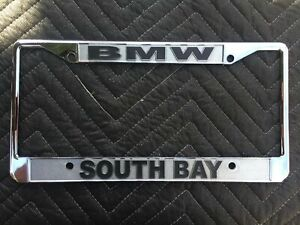 Vintage Dealer License Plate Frame South Bay Bmw Chrome
