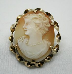 A Very Nice 9ct Gold Mounted Carved Cameo Brooch Other Fine Pins & Brooches Fine Pins & Brooches