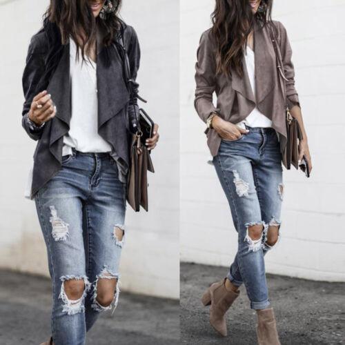 Women Leather Faux Suede Duster Style Short Jacket Ladies Blazer Office Coat cf