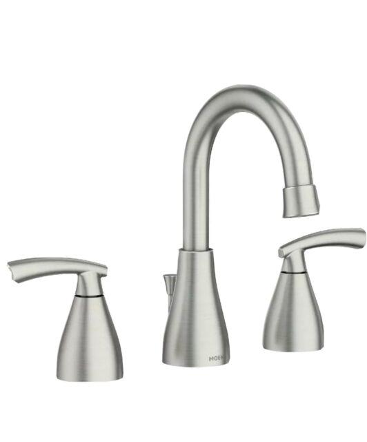 Handle Bathroom Faucet, Moen Bathroom Faucets Widespread Brushed Nickel