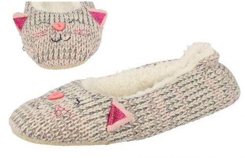 Ladies Eaze Fleece Lined Cat Slippers Grey//Cream Great Price! X2046